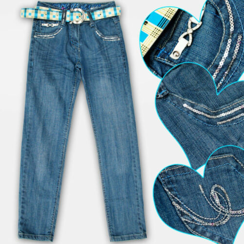 Mädchen Jeans Kinder Hosen mit  Gürtel 6-14 Jahre    //3066