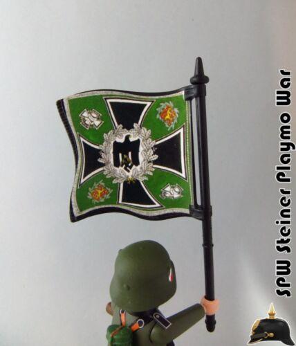 BANDERA HISTORICA INF MONTAÑA III REICH ALEMANIA WW2 GUERRA MUNDIAL PLAYMOBIL