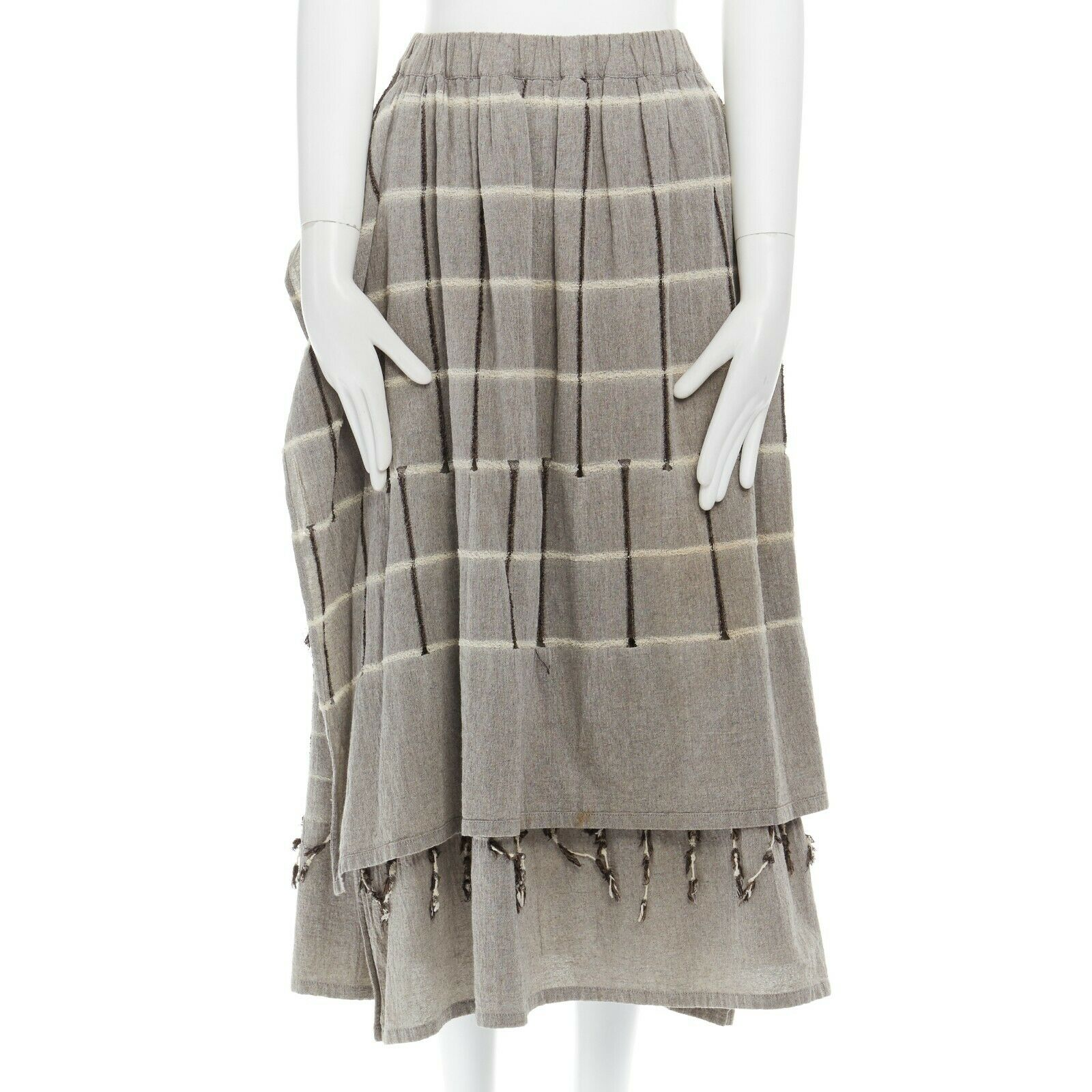 ISSEY MIYAKE Vintage 1980s light grey striped paneled side fringe trim skirt M