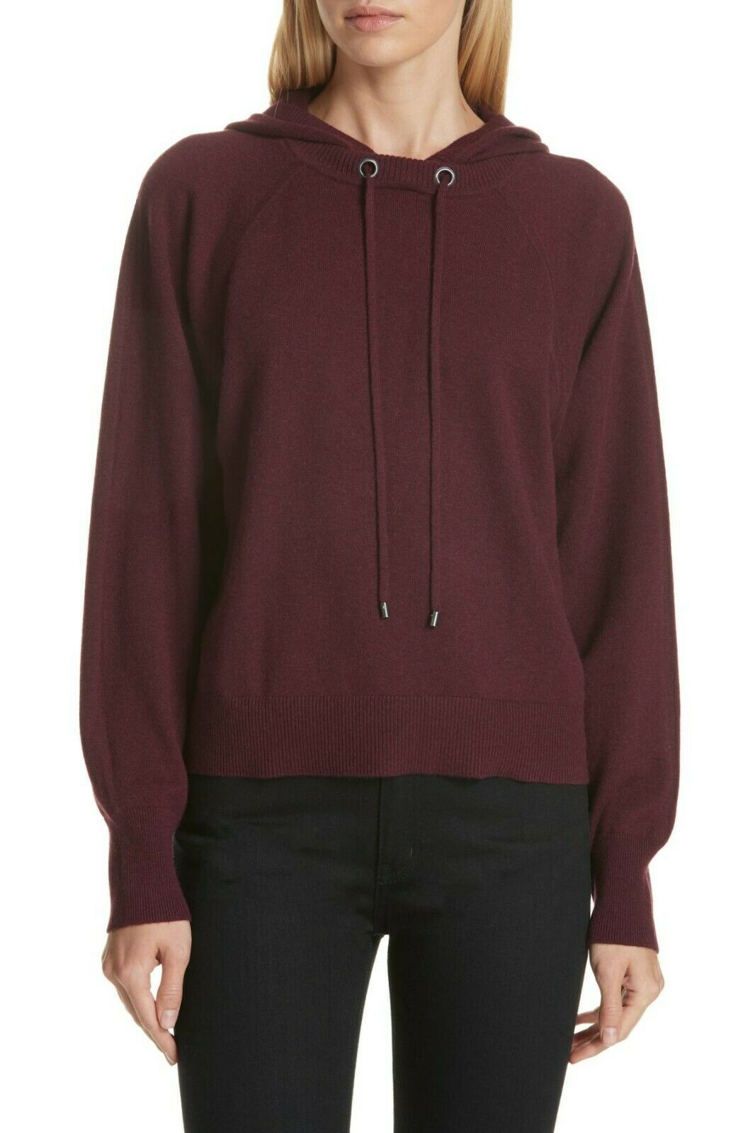 NEW Nordstrom Signature Cashmere Blend Hoodie Sweatshirt in Burgendy-SZ XL  S680