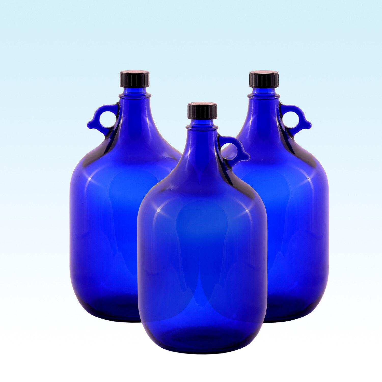 3 x Gallon 5 LITRES   bouteille en verre bleu   eau vin