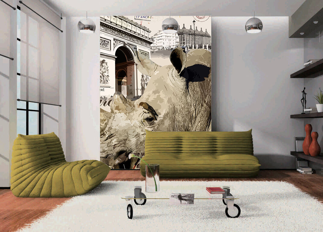 3D Rhinoceros painted Wall Paper wall Print Decal Wall Deco Indoor wall Mural