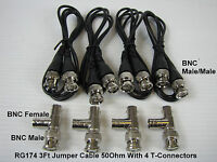 4 X Rg174 Bnc Male To Male 50ohm Coaxial Cable 3ft & T-con Cctv & Video System