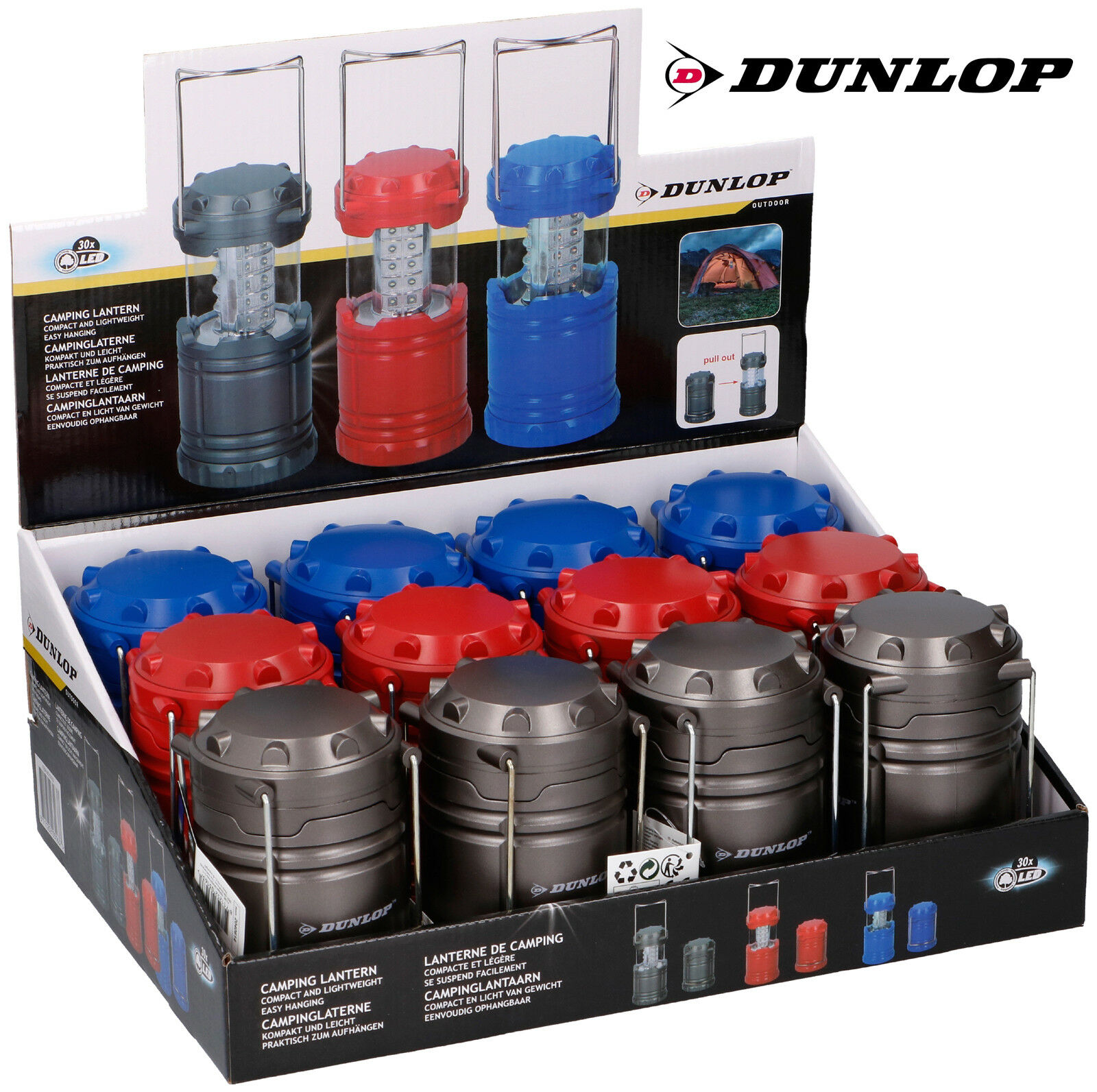 Dunlop Dunlop Dunlop extractible Camping Lampe Lanterne 30 DEL Lampe zeltlampe Outdoor Luminaire cde828