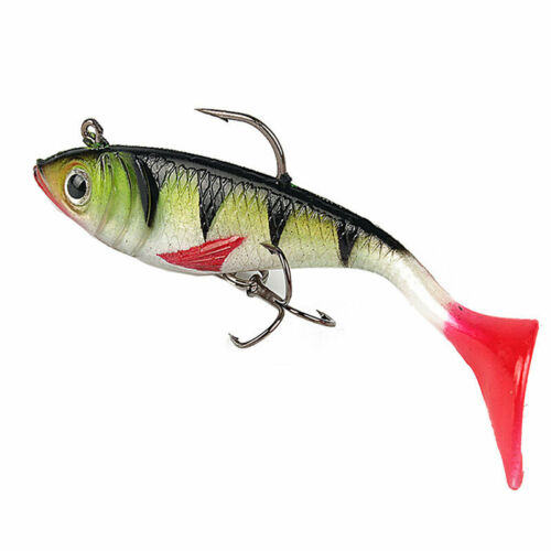 5x Soft Silicone Fishing Bait Lure Artificial Red Tail Fish T6X5 10.7g Lead P3S9