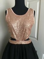Topshop Wedding Party Gold Sequin Bust Black Cut Out Skirt 10 Uk 6 Usa
