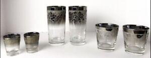 Vtg-Dorothy-Thorpe-Bar-Set-Rocks-Highball-Shot-6-Silver-Fade-Textured-Grapes-MCM