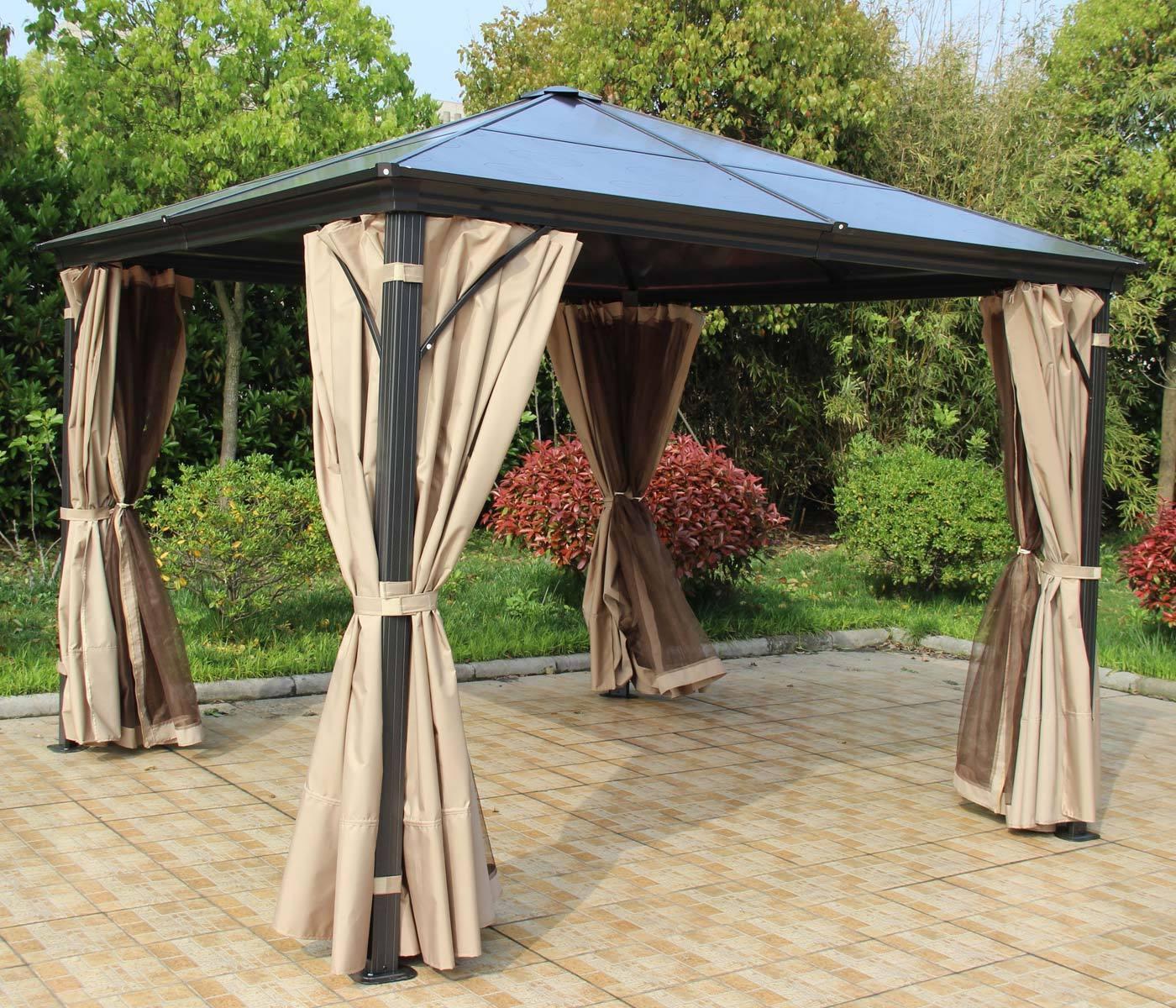 Hardtop Pergola HWC-C74 Garten Pavillon Dach Seitenwand Seitenwand Seitenwand + Moskitonetz Alu 318515