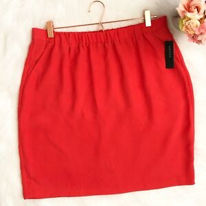 Chaus-Womens-Skirt-Coral-Sunset-Pencil-Skirt-Stretch-Pockets-Large-New-59