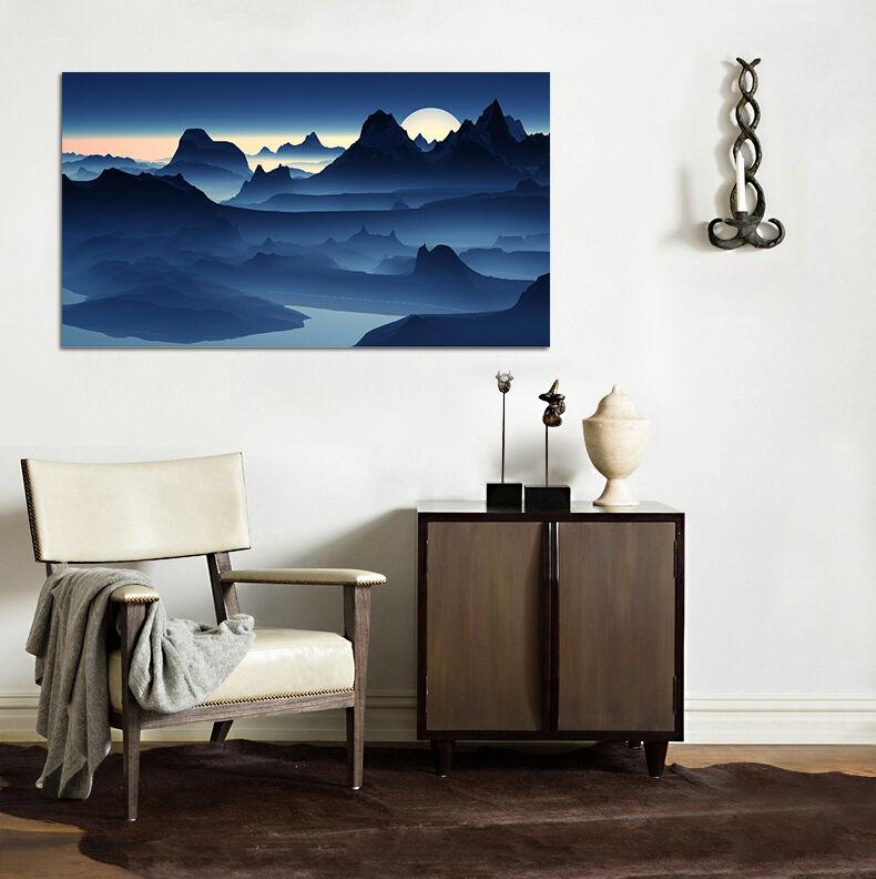 3D Ruhige Nacht Mond Berg 743  Fototapeten Wandbild BildTapete AJSTORE DE Lemon