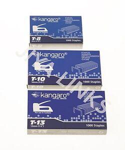 HonnêTeté 1000 X Kangaro Cloueurs Gun Staples 8 Mm, 10 Mm, 13 Mm école Bureau Upholstery-afficher Le Titre D'origine Apparence Brillante Et Translucide