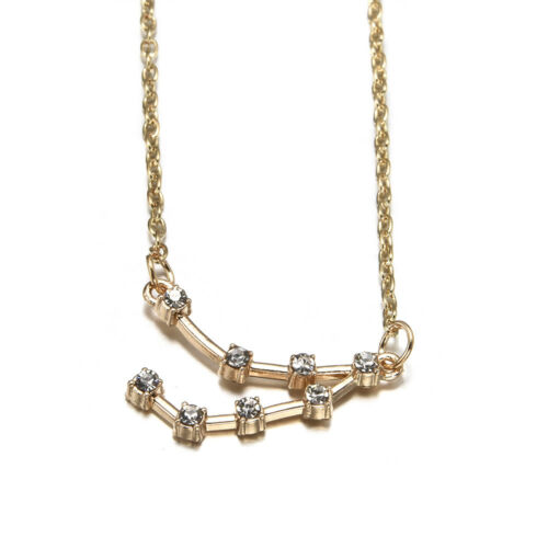 New Gold Silver Alloy Constellation Chain Necklace Crystal Horoscope Astrology