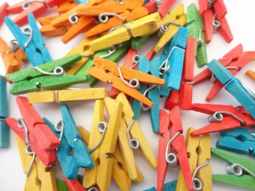 100 Mini Wooden Pegs Craft Paper Photo Xmas Cards Holder Clips Toys Decorations