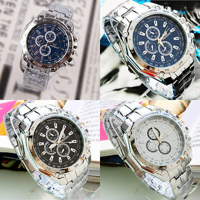 Fashion Luxury Men's Cool Stainless Steel Band Sport Analog Quartz Wrist Watches