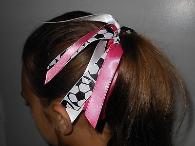 Custom Team Colors Ribbon Ponytail Holder, Choose Your Favorite Sport and Colors