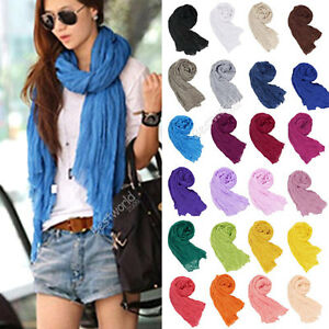 Fashion-Women-Girls-Candy-Colour-Crinkle-Long-Soft-Scarf-Wrap-Shawl-Stole