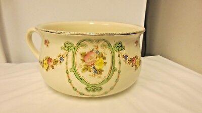 Vintage SF & Co Devonware Stroke on Trent England Chamber Pot Thunder mug-Floral