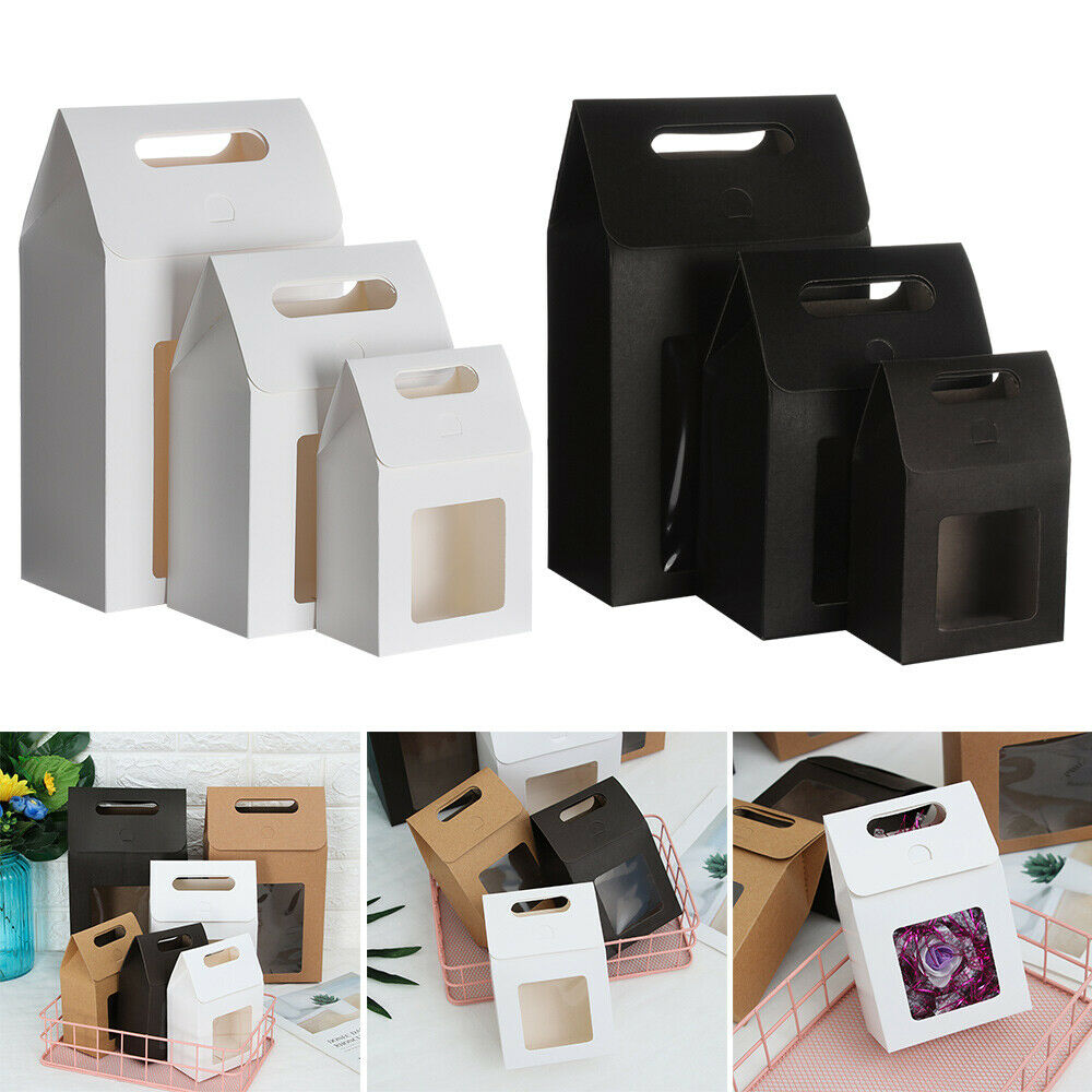 6Pcs Favors Paper Gift Package Clear PVC Window Candy Wrapping Bag Present Case