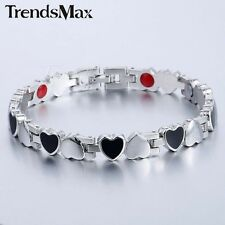"""7.87"""" Women Silver Stainless Steel Bracelt Magnet Therapy Bangle 8mm Hearts Link"""