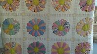 Handcrafted Quilt, Dresden Plate, Plates Vintage, Hand Quilted 49 X 65 1/2