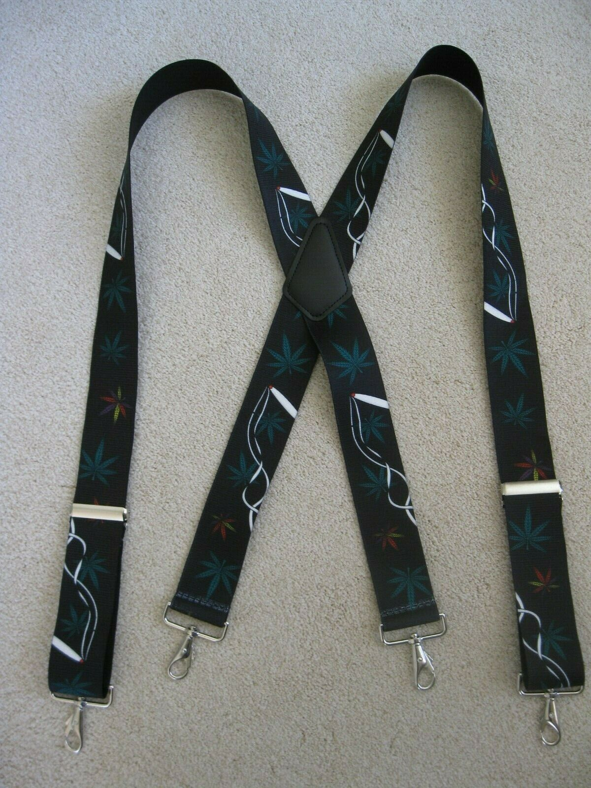 "Image 01 - X Style 1 -1/2"" & 2"" Marijuana Joints Suspenders with Loop Snaps CLIPS USA Made"