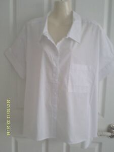 14-BIG-ROOMY-SHIRT-WHITE-COTTON-BLEND-COLLAR-SHORT-SLEEVES-POCKET-BNWT-25