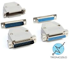 DB25 25 Pin D-Sub Plug Solder Connector RS232 Serial / Grey Hood / Male / Female