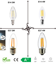 LED Candle Bulb E14 E27 SES ES C35 2W 4W Light Lamp,Retro Filament COB White