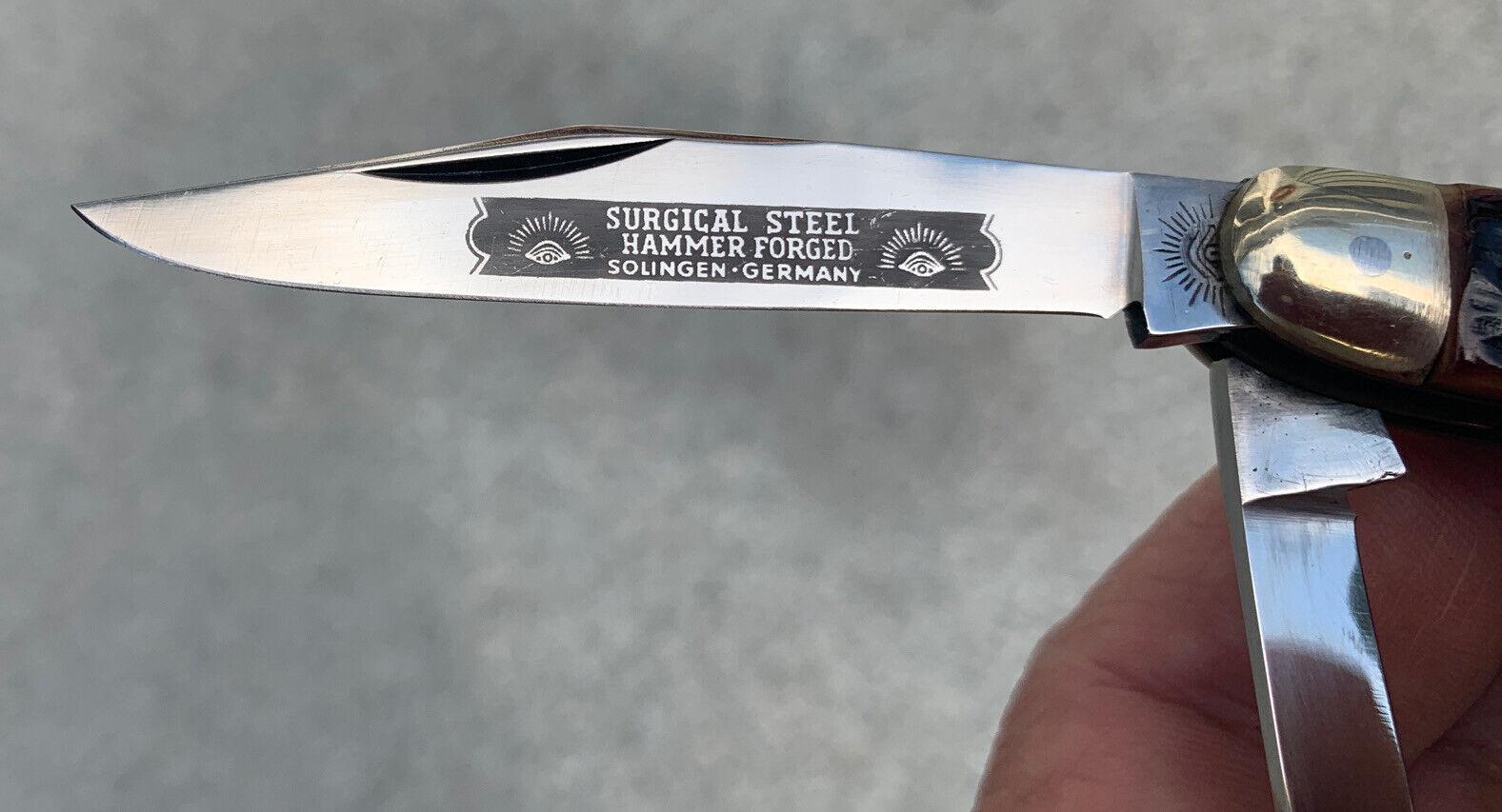 Vintage Eye Brand 3 Blade Jack Knife Solingen Germany