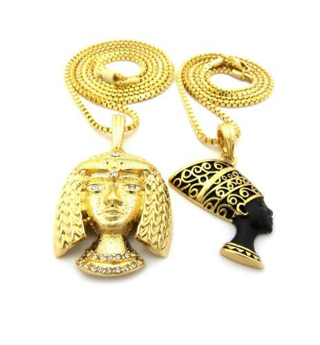 "Cleopatra Pendant 24/"",30/"" Box Chain Hip Hop Necklace RC1880 Egyptian Nefertiti"