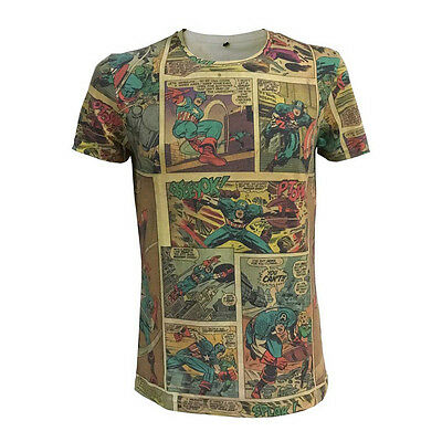 NEW! Marvel Comics Captain America Classic Comic Strip T-Shirt XXL