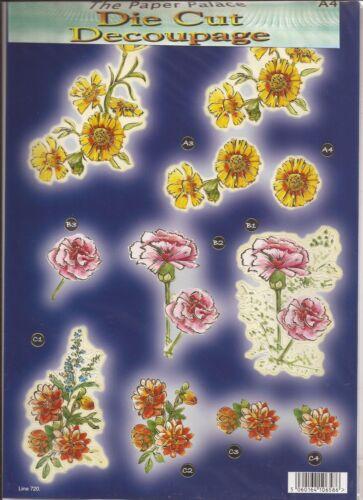 Carnation Flowers A4 Die Cut 3D Decoupage Sheet 051-720