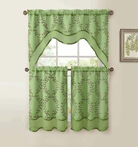 Sage Green 3 Pc Kitchen Window Curtain Set Two Layer Sheer Vine Embroidery Ebay