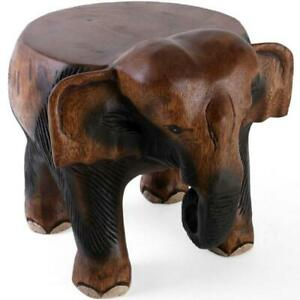 Outstanding Details About New Hand Carved Acacia Wood Elephant Stool Table Side Wooden Lamp Plant Stand Onthecornerstone Fun Painted Chair Ideas Images Onthecornerstoneorg