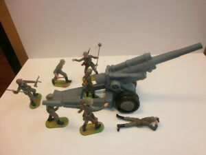 Convolute-7-Old-Elastolin-Plastic-Soldiers-Wehrmacht-Mortar-To-7-5cm