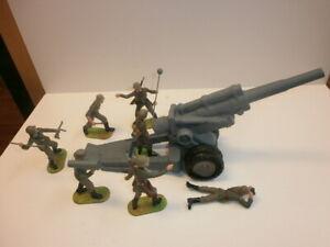 Konvolut-7-alte-Elastolin-Kunststoff-Soldaten-Wehrmacht-Moerser-zu-7-5cm