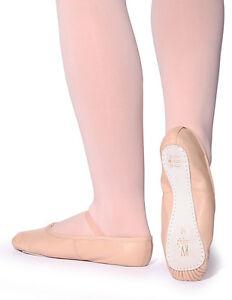 Rosa Cuero Zapatos De Ballet, de fácil ajuste (orden normal Tamaño del zapato) Niño & Adultos Tamaños