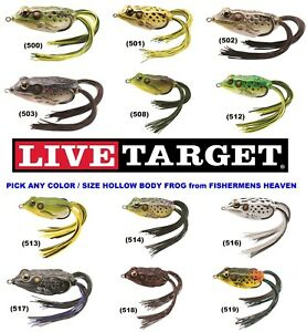 Live-Target-Frog-Hollow-Body-Topwater-Lure-FGH-Pick-Any-Color-or-Size-Koppers
