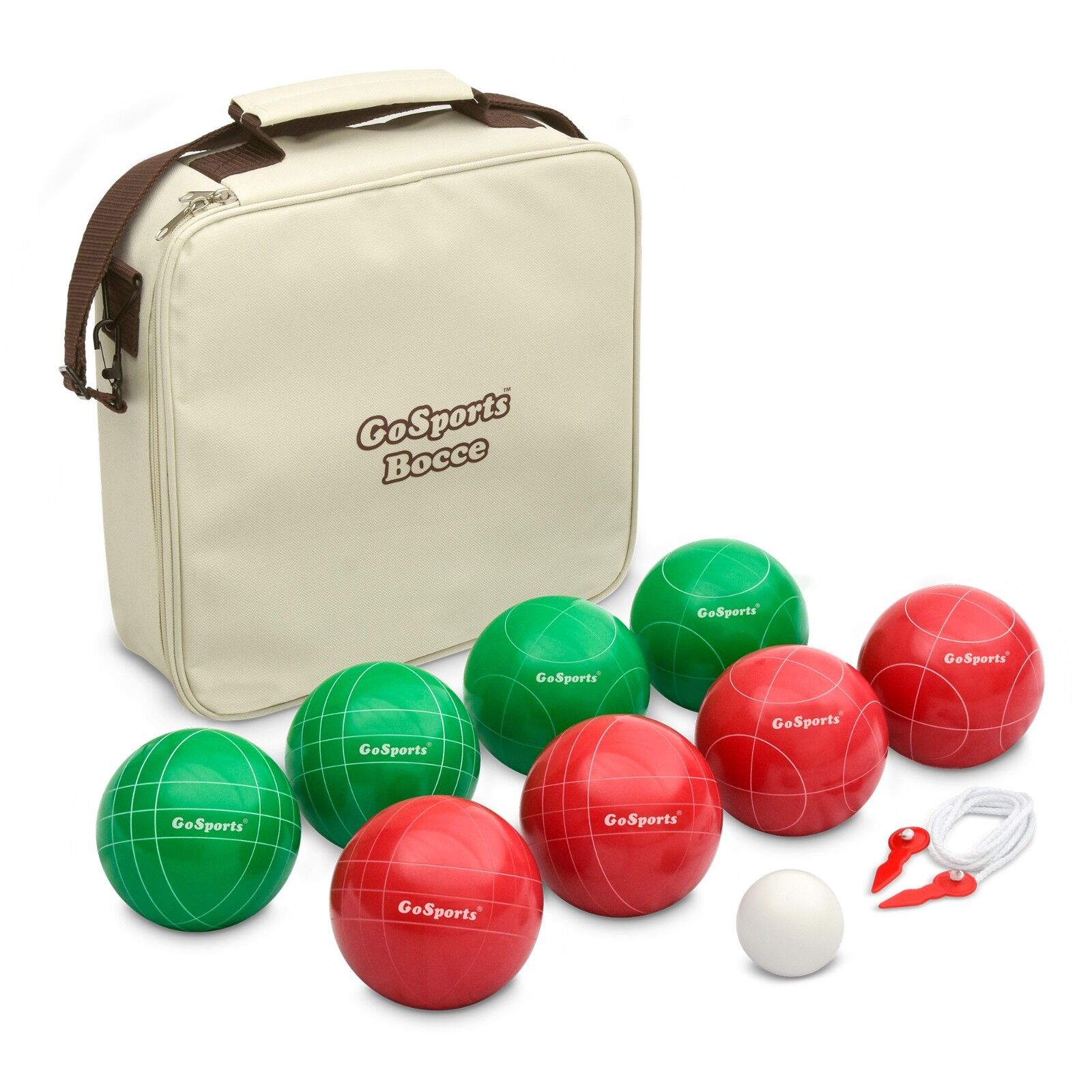 GoSports Premium 100mm Bocce Ball Set - 9 Piece with Carry Case - 4 Players
