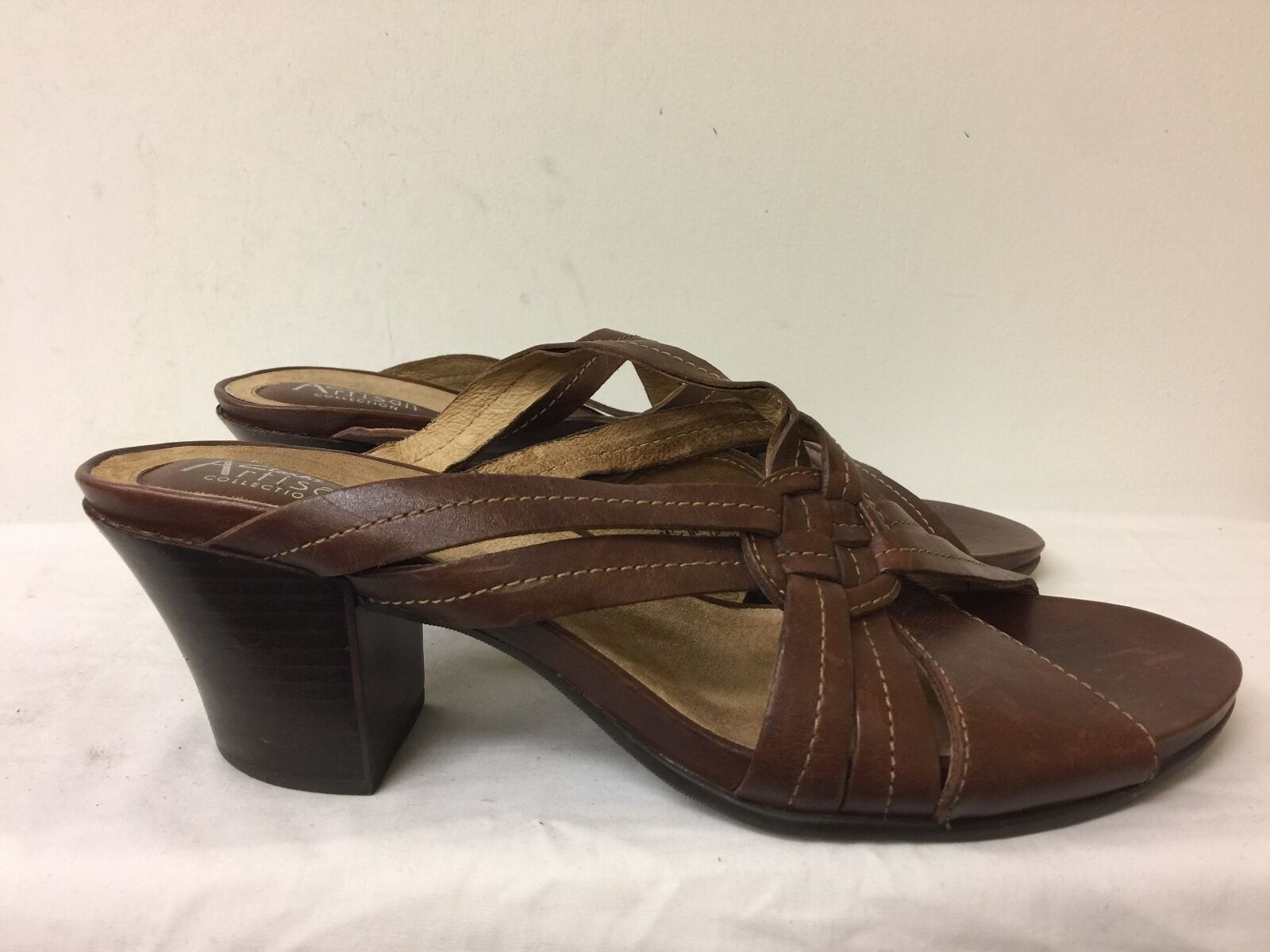 Clarks Artisan collection women  Brown Leather size Straps heels  Slides size Leather 11M c78c74