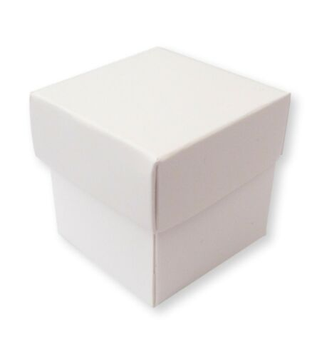 """CHOCOLATE 200 WHITE 2/"""" X 2/"""" WEDDING FAVOUR GIFT BOXES /& LID SWEETS CONFETTI"""
