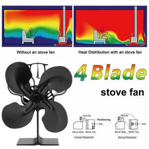 Stromloser-Kamin-Ofen-Ventilator-Stove-Fan-Geblaese-4-Blade-Fuer-Holzofen-Ofen-oq