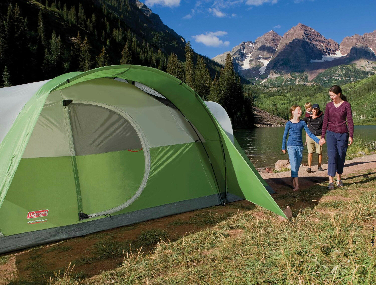 8 Person Tent Modified Dome Camping Outdoor Family Shelter Green 16x7Ft. Coleman