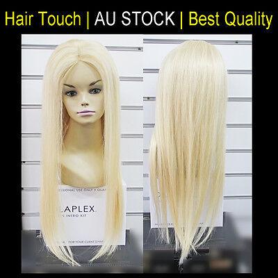 "Mono Top 100% Human Hair Wig 22-28"" Long Straigt Platinum Blonde Great Quality"