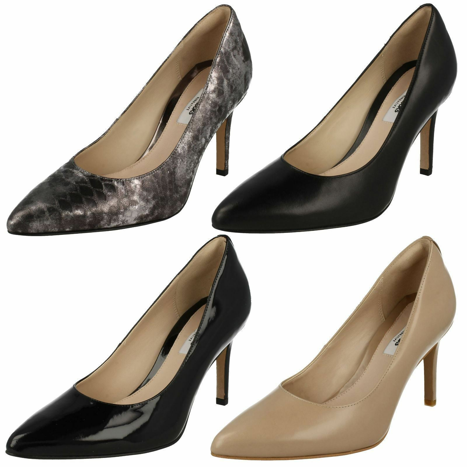 Ladies Dinah Clarks Dinah Ladies Keer High Heel Smart Leather Court Shoes D Fitting f3e4b9