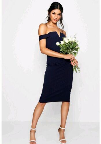 boohoo navy Bardot midi dress UK 14