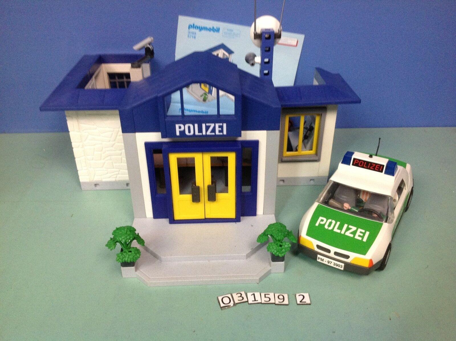 (O3159.2) playmobil caserne police + voiture ref 3159 3903