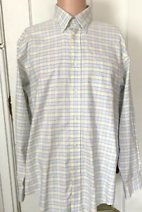 Lands-End-Shirt-Mens-Size-L-16-16-5-Long-Sleeve-Check-Large-No-Iron-Work