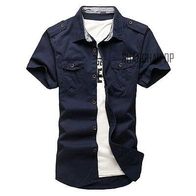New Men/'s Casual Short Sleeve Cargo T-shirts Military  Double Pockets Shirt
