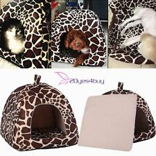 Dog Cat Kitten Pet Soft Strawberry Bed Warm Cave House Mat Puppy Leopard Basket